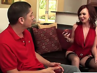Cutie Fake Mother Felony Forplay Gives Handjob Well Her Dad's Friend