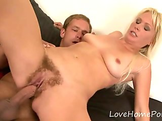 Hot blonde milf gets ravaged by two dudes